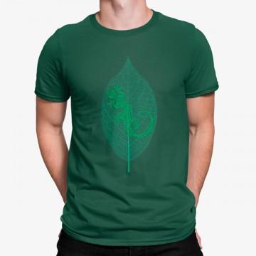 Camiseta Lagarto en Hoja Verde