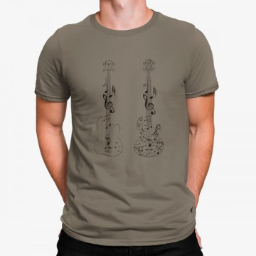 Camiseta Guitarras Eléctricas Notas Musicales