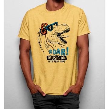 Camiseta Dinosaurio Escuchando Música