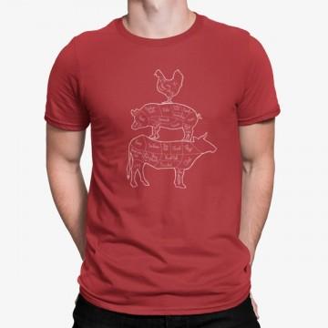 Camiseta Partes Pollo Cerdo Vaca