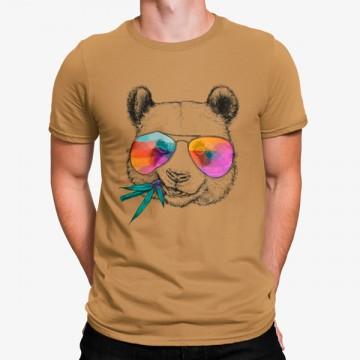 Camiseta Panda Comiendo Hipster