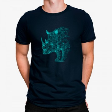 Camiseta Rinoceronte Geométrico Azul