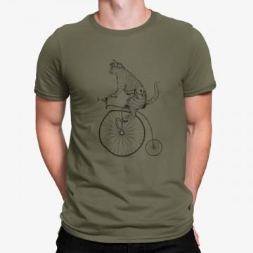 Camiseta Gato en Bicicleta Vintage Animales