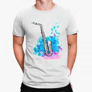Camiseta Saxofón Notas Musicales Artístico