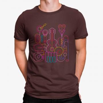 Camiseta Instrumentos Musicales Líneas Minimalista