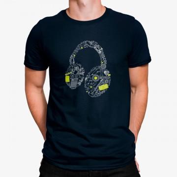 Camiseta Auriculares Simbolos Musicales